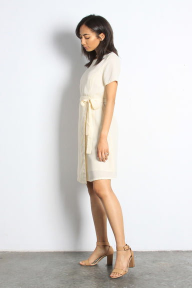 Cream Faux Wrap Dress Knee Length