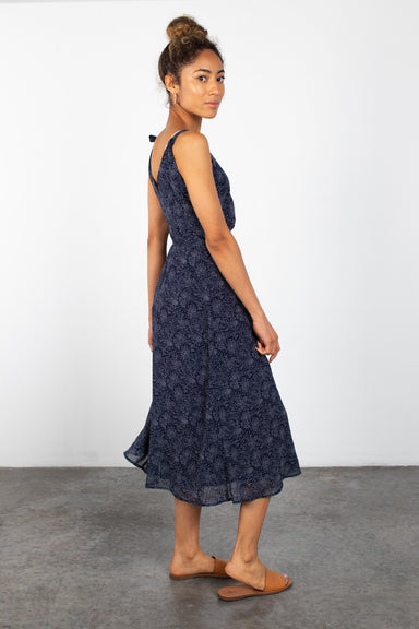Navy Ditsy Floral Midi Dress