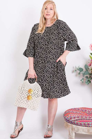 Leopard Print Ruffle Hem Dress - Plus size