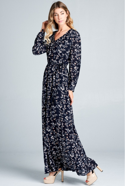Floral V Neck Tie-Waist Maxi Dress