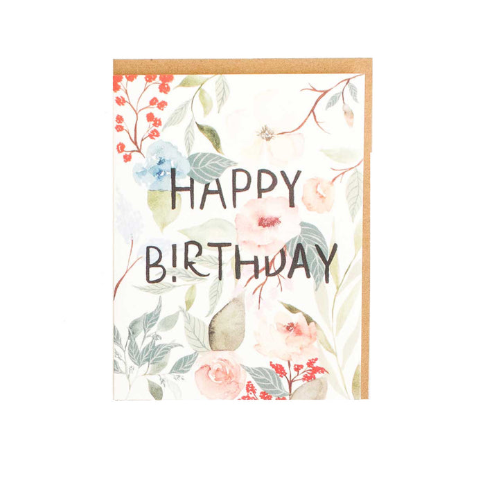 Garden Floral Happy Birthday Card