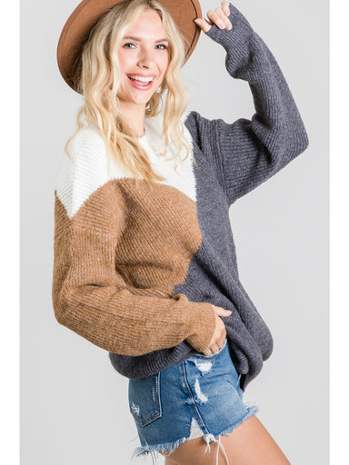 Haley Color Block Sweater - Charcoal