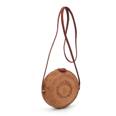 Circular Natural Wicker Crossbody