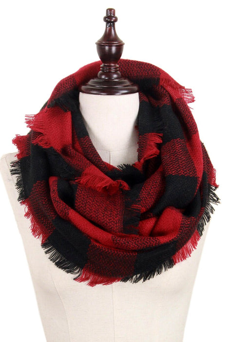 Buffalo Plaid Infinity Scarf - Red