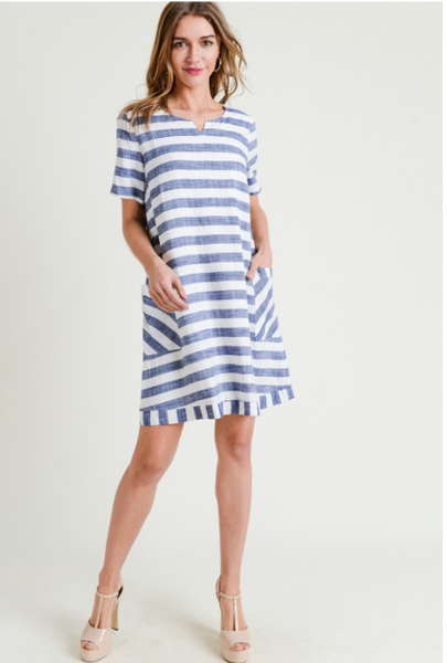 Cotton Linen Blue and White Stripe Pullover Dress