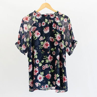 Navy Floral Blouse with Tie Detail - Plus Size