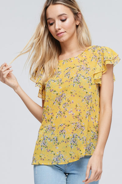 Yellow and Floral Summer Top with Ruffled Sleeves