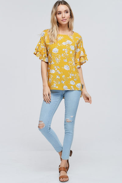 Mustard and White Floral Summer Top with Ruffled Sleeves