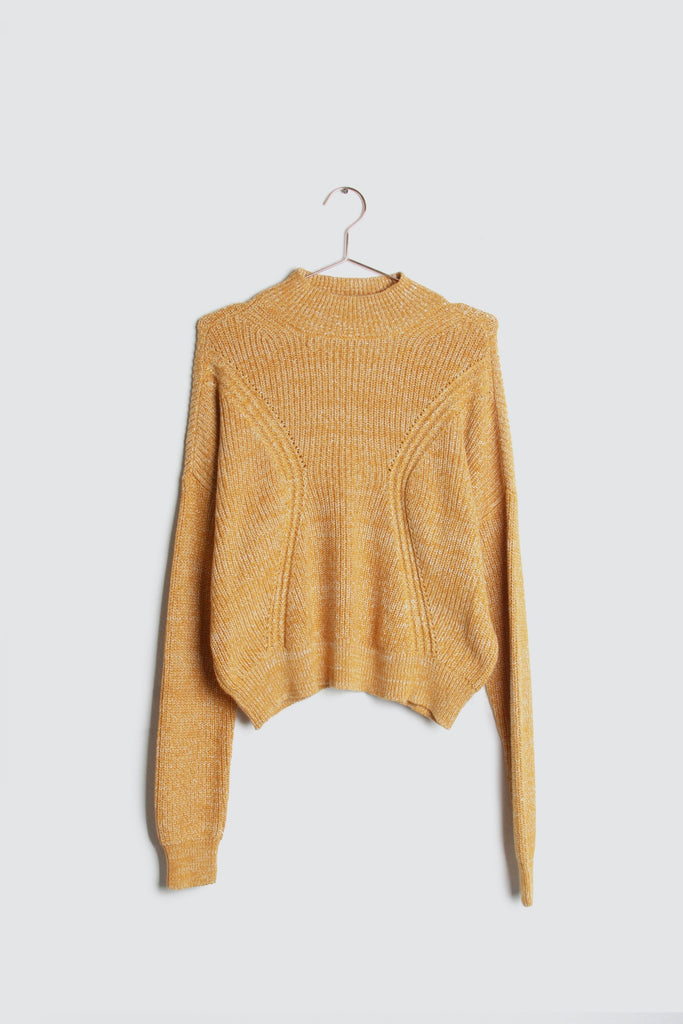 Soft Brushed Knit Sweater in Mustard