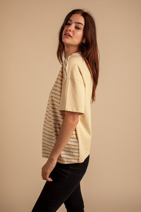 Comfy Tee in Ivory and Mustard Stripe