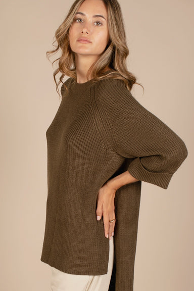 High Low Sweater - Olive