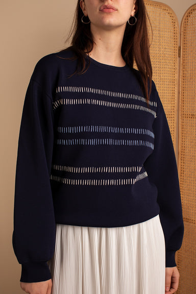 Crewneck Sweater with Horizontal Striping