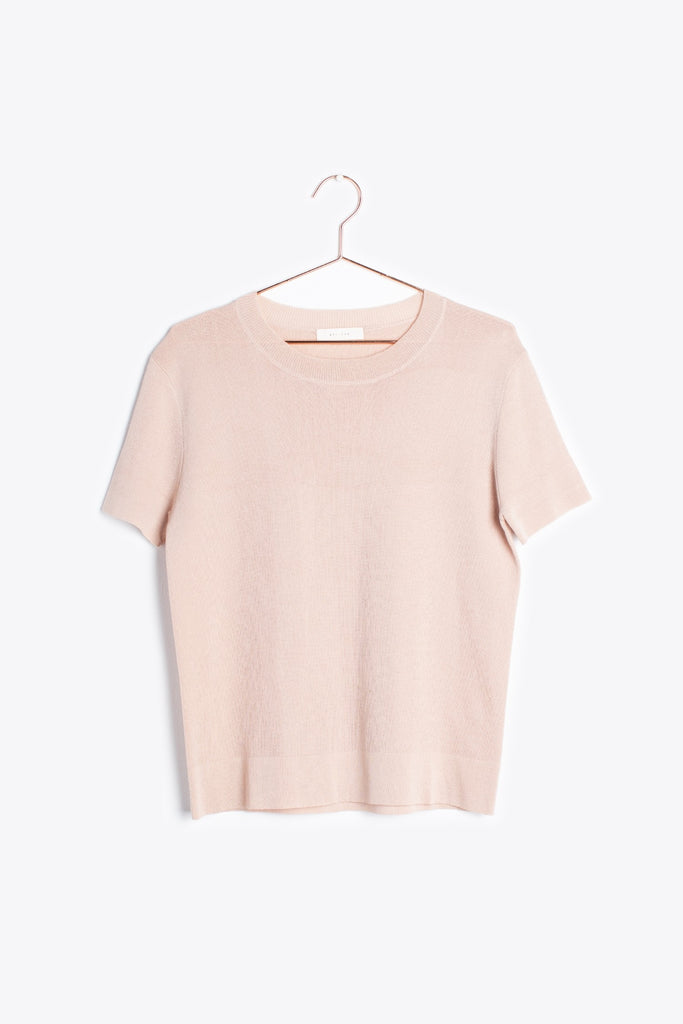 Short Sleeve Ribbed Blouse in Blush