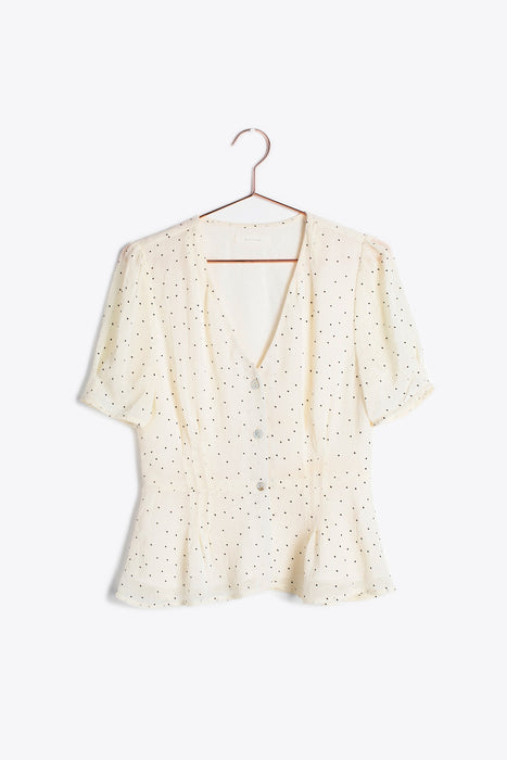 Cream Polka Dot Short Sleeve Blouse