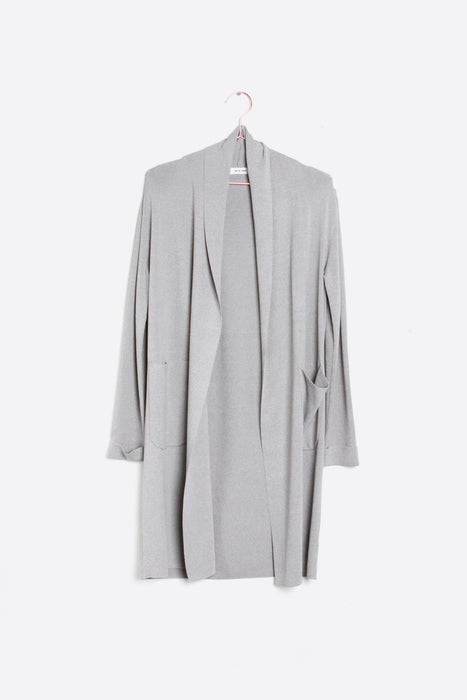 Long Knit Cardigan with Pockets - Grey