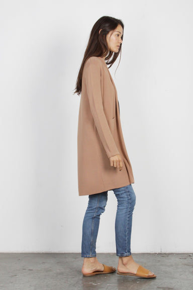 Long Knit Cardigan with Pockets - Mocha