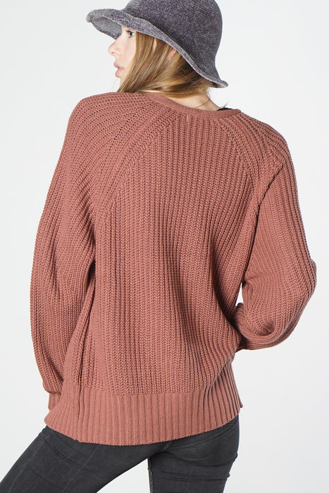 Mauve Oversized Knit Sweater with Pockets