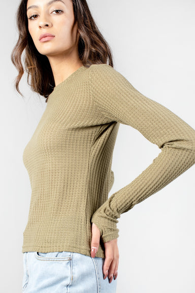 Brianne Waffle Knit Shirt with Thumb Holes