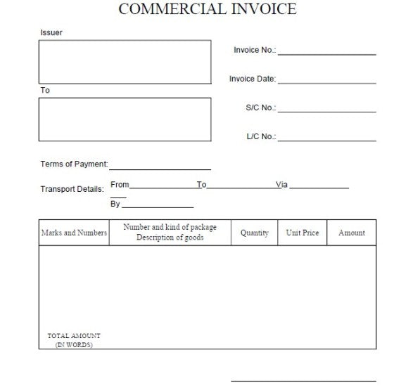 what is commercial invoice