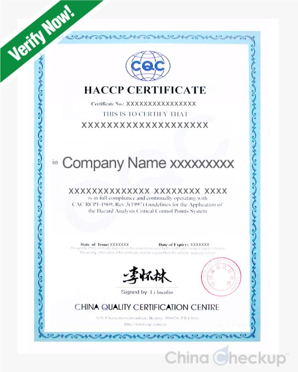 China HACCP Certificate - An Introduction | China Checkup