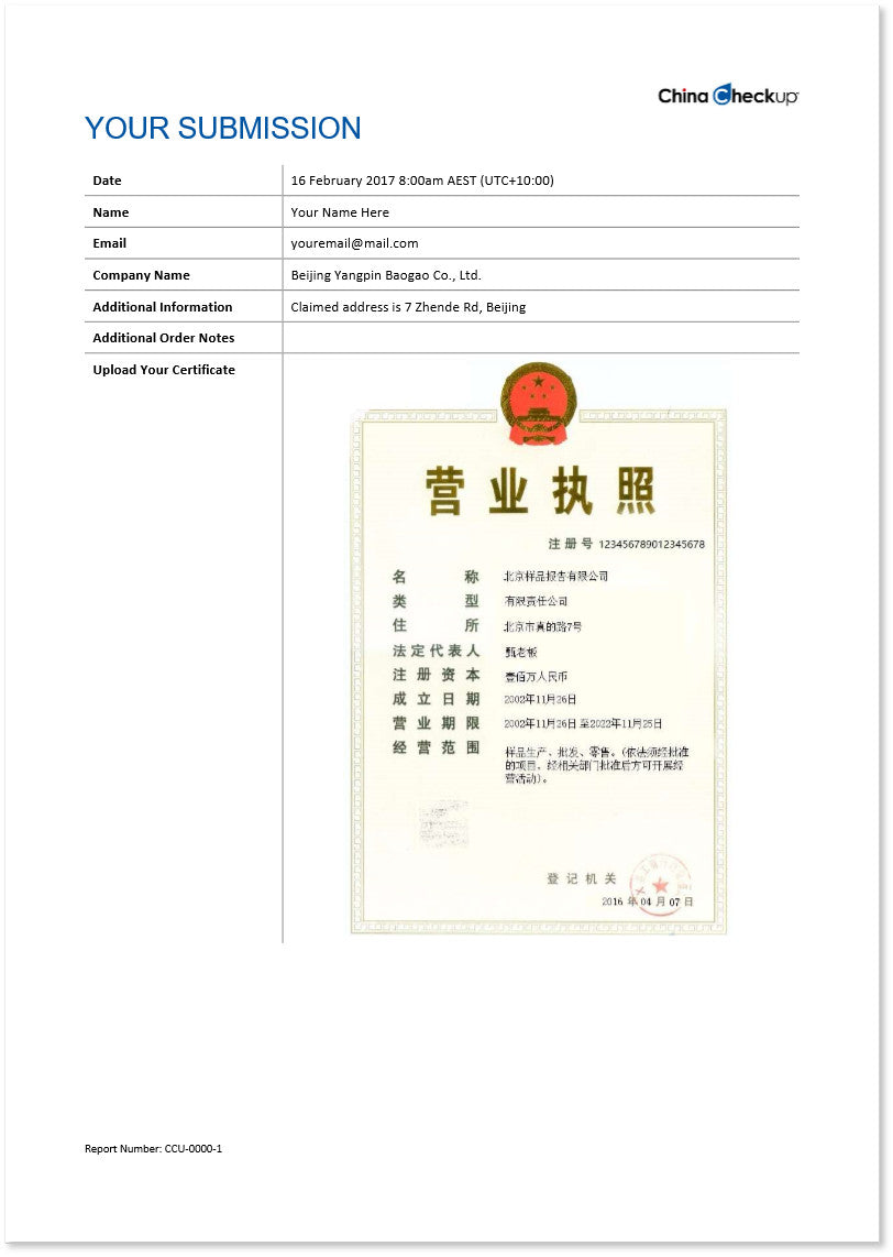 Chinese Certificate Verification Report Cover