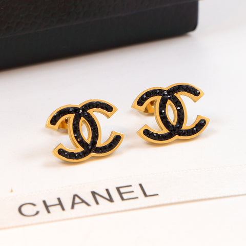 Double C black diamonds stud 18K titanium steel gold couple jewelry earrings