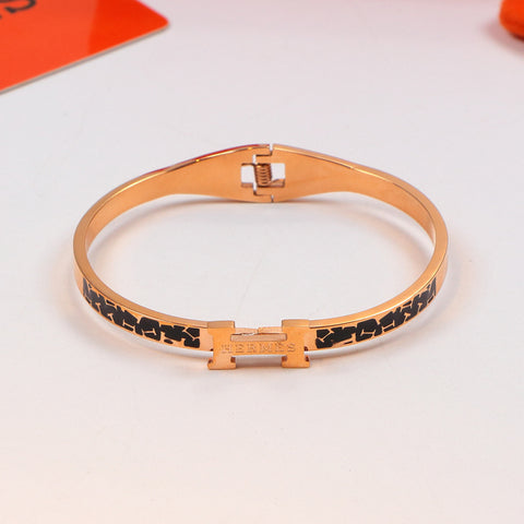 18K rose gold titanium steel multi-color gold narrow band bracelet