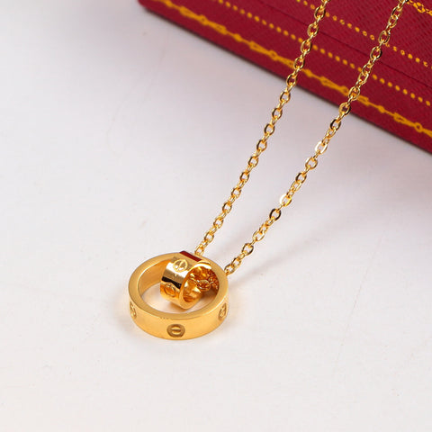 Free shipping Double loop pendant love necklaces