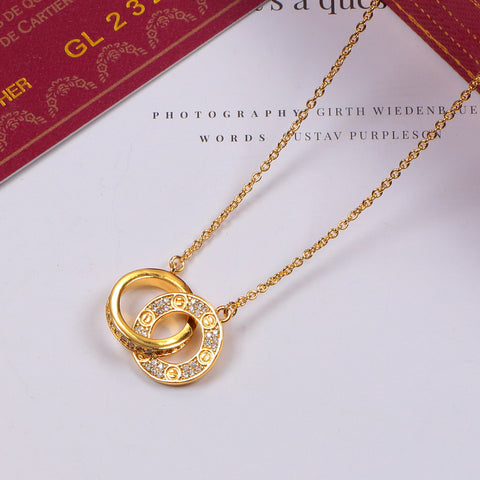 Free shipping Letter double ring full diamonds pendant necklace