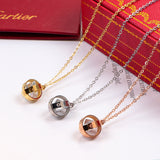 Hollow out single diamond pendant love necklaces