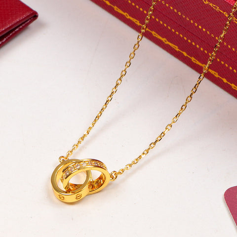 New arrival double ring single row diamonds pendant necklace