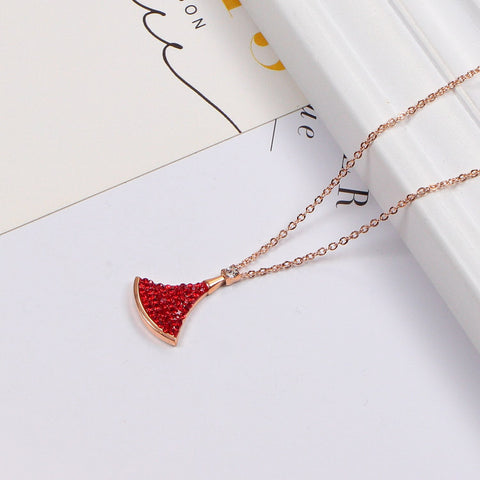 Full diamonds fan pendant color diamond necklace