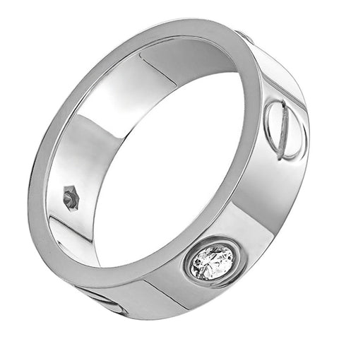 OMFEE Stainless Steel Designer Screw Head Love Wedding Ring with Diamonds Silver Finish,Sizes 5 - 12