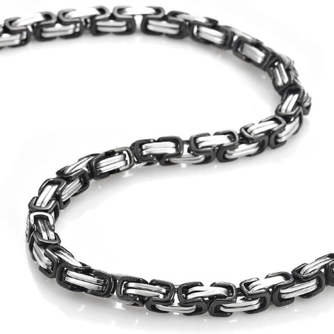 OMFEE Jewelry Stainless Steel Mens Necklace Link Chain - Silver - Length 22 inch