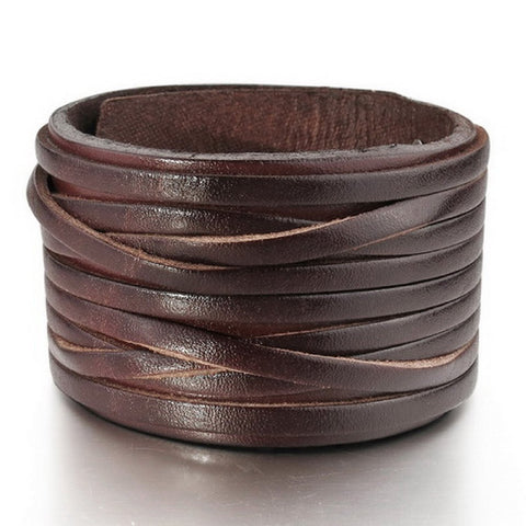 "OMFEE Jewelry Wide Genuine Leather Men's Bangle Cuff Bracelet, Punk Rock, Fits 7.5"" to 9"", Black"