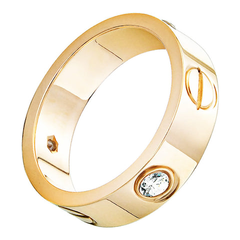 OMFEE Stainless Steel Designer Screw Head Love Wedding Ring with Diamonds Gold Finish