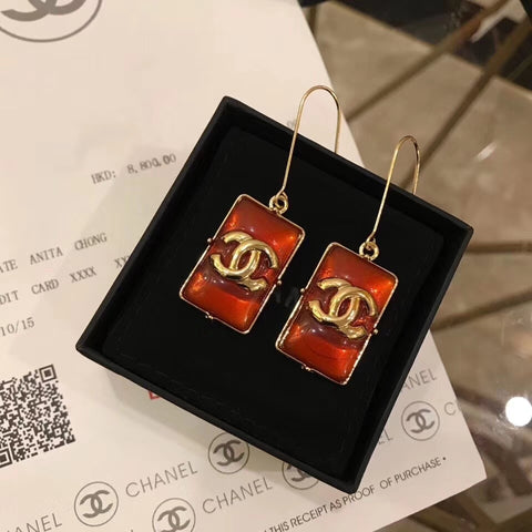 New arrival Classic double C Square resin ear hook earrings