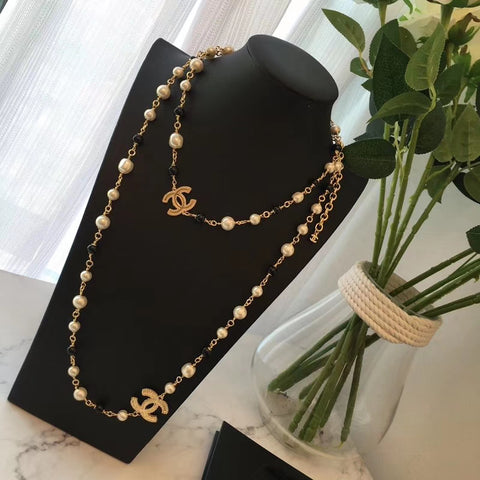 New arrival black and white pearl Sweater necklace