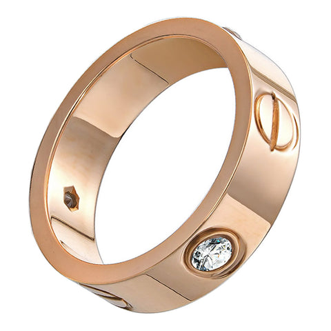OMFEE Stainless Steel Designer Screw Head Love Wedding Ring with Diamonds Rose Gold Finish