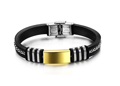 OMFEE Stainless Steel Gold Plated Black Genuine Leather Shiny CZ Men's Bracelet Bangle