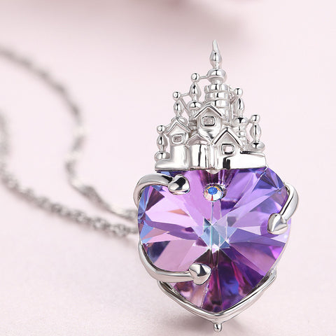 Love castle 925 sterling silver necklace female using swarovski element heart-shaped crystal pendant
