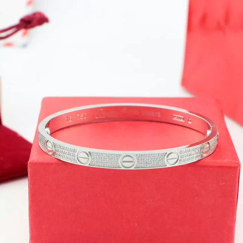 OMFEE Stainless Steel Oval Love Bracelet Bangle with Ten Diamonds and Screwdriver