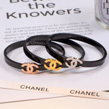 Free shipping Titanium and steel three dimensional three color bracelet with hollow bracelet