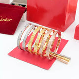 Free shipping stainless steel screw head design with full diamonds bracelet bangles