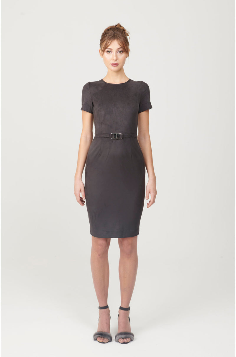 Crewneck Sheath Dress with Belt - My Graphiti