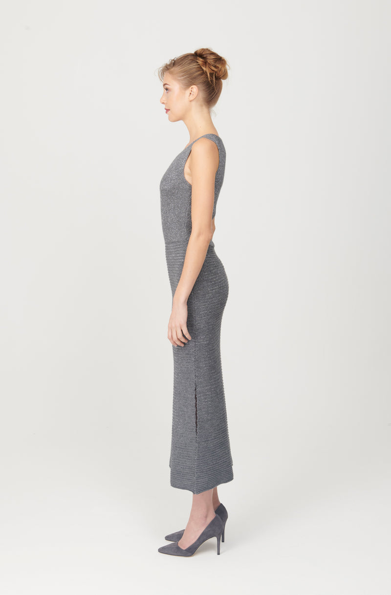 Crewneck Long Dress with Slit - My Graphiti