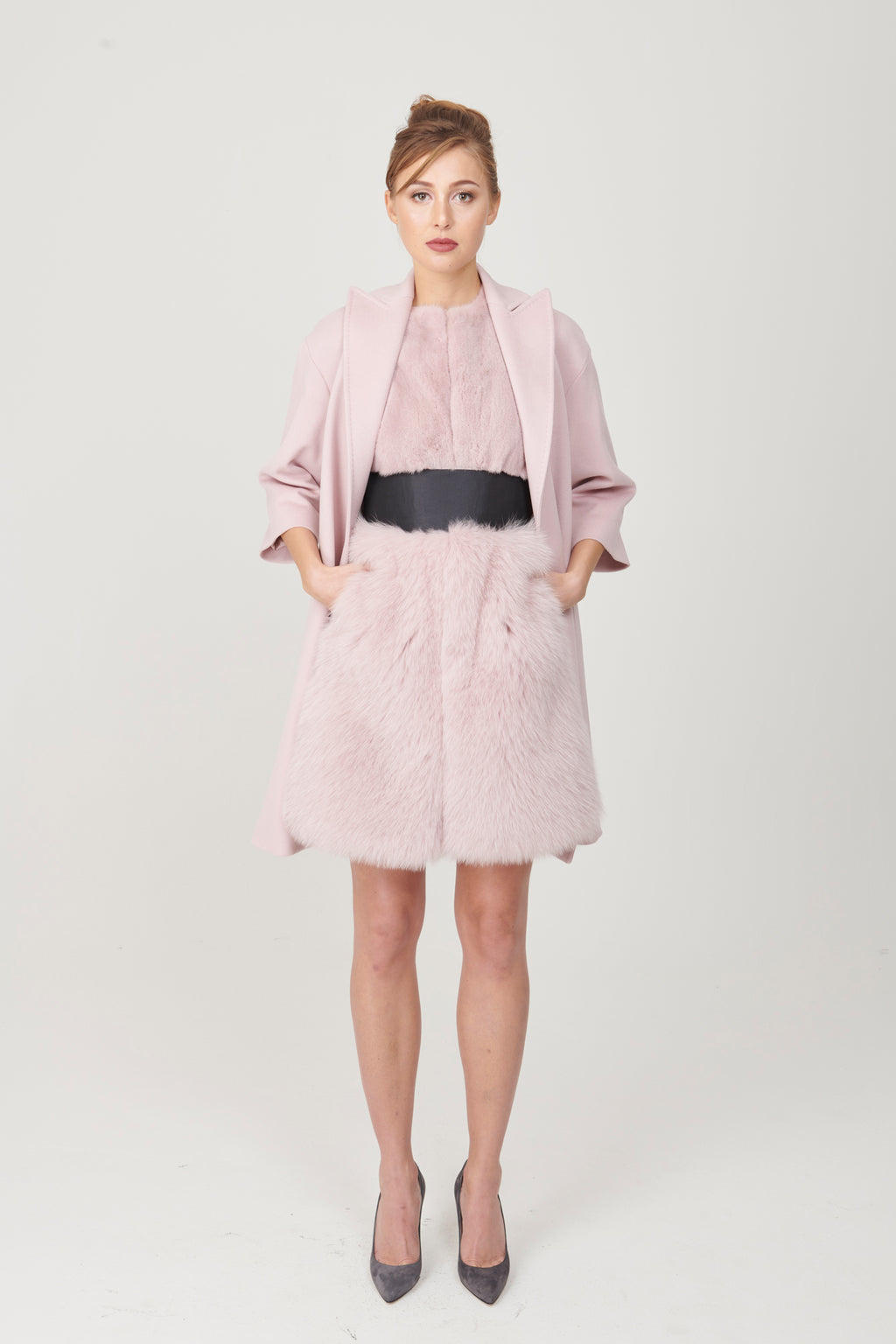 3 / 4 Sleeve Coat with Belt - My Graphiti