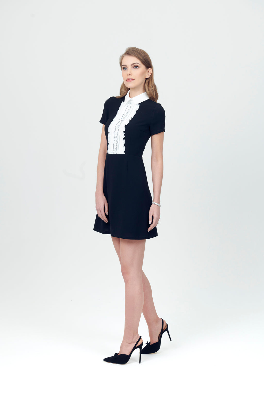 A Line Dress with Ruffle top