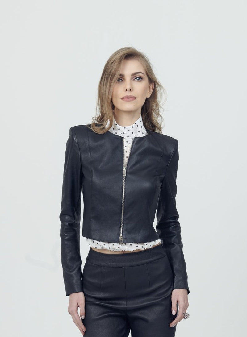 Stretch Leather Short Zip Jacket
