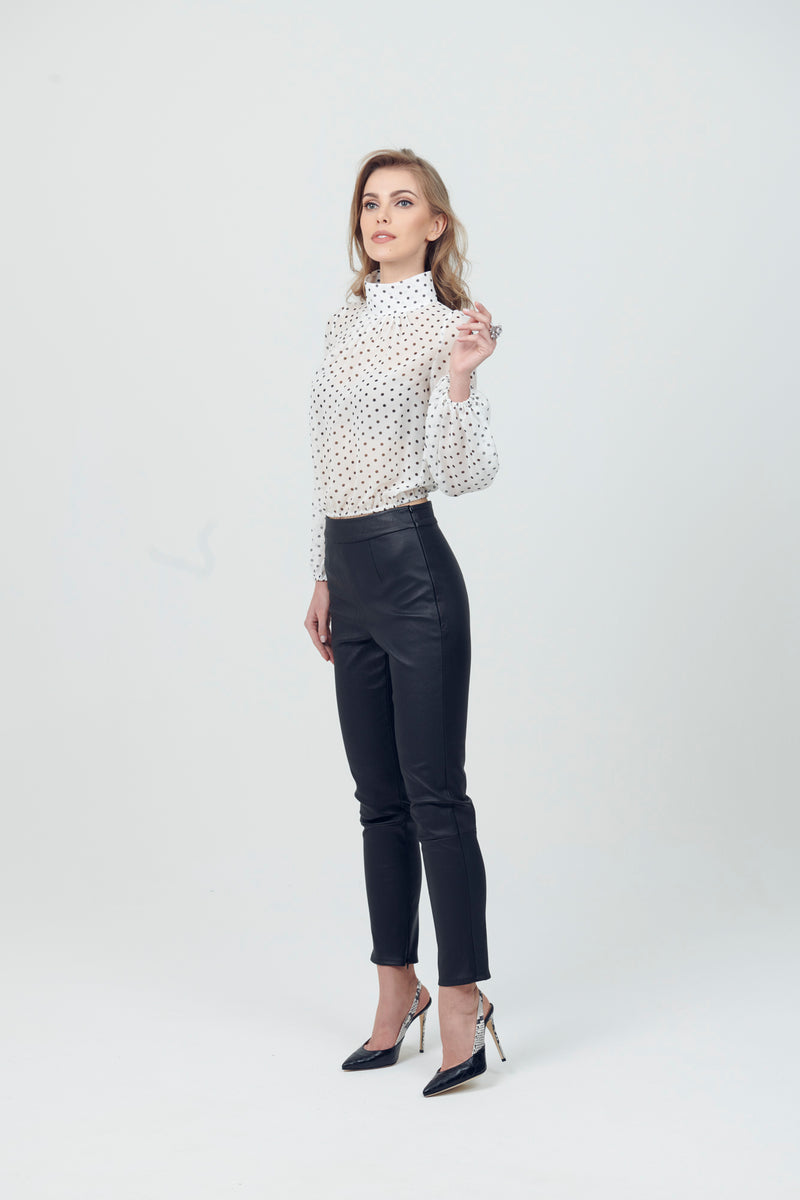 Leather Ankle Crop Stretch Cigarette Pants